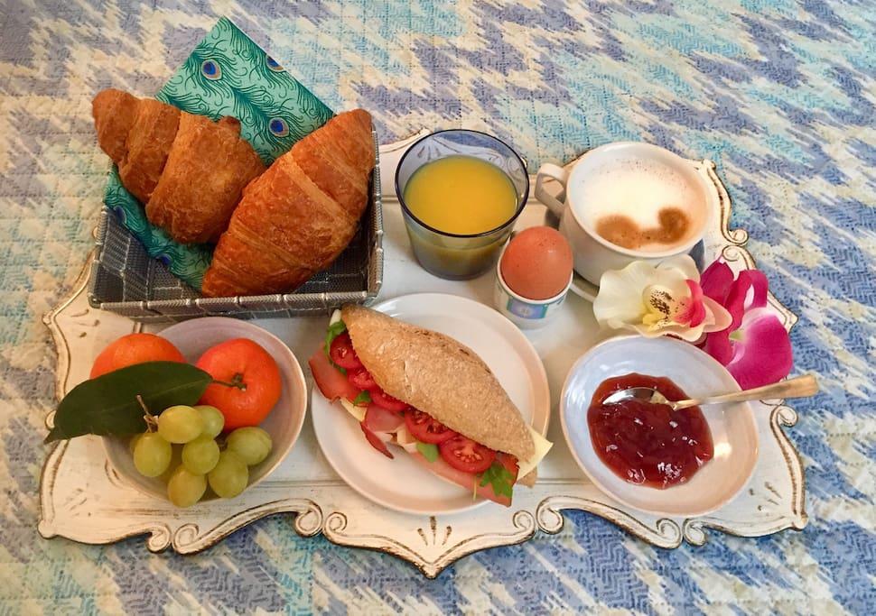 Delicious breakfast in bed! 7 euros per person :)