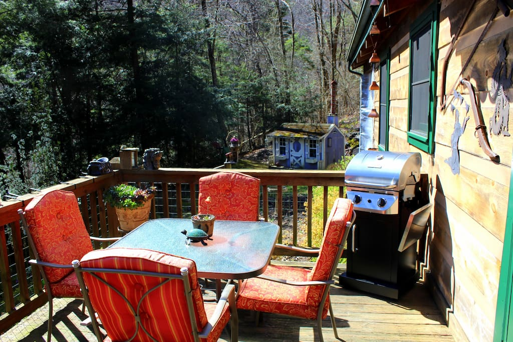 The patio, a perfect spot to savor a meal fresh from the brand new gas grill. FYI, the deck has a retractable awning (fully mechanical) with lights.