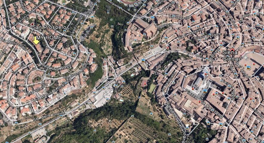 Vista dall'aereo. Siena e my home