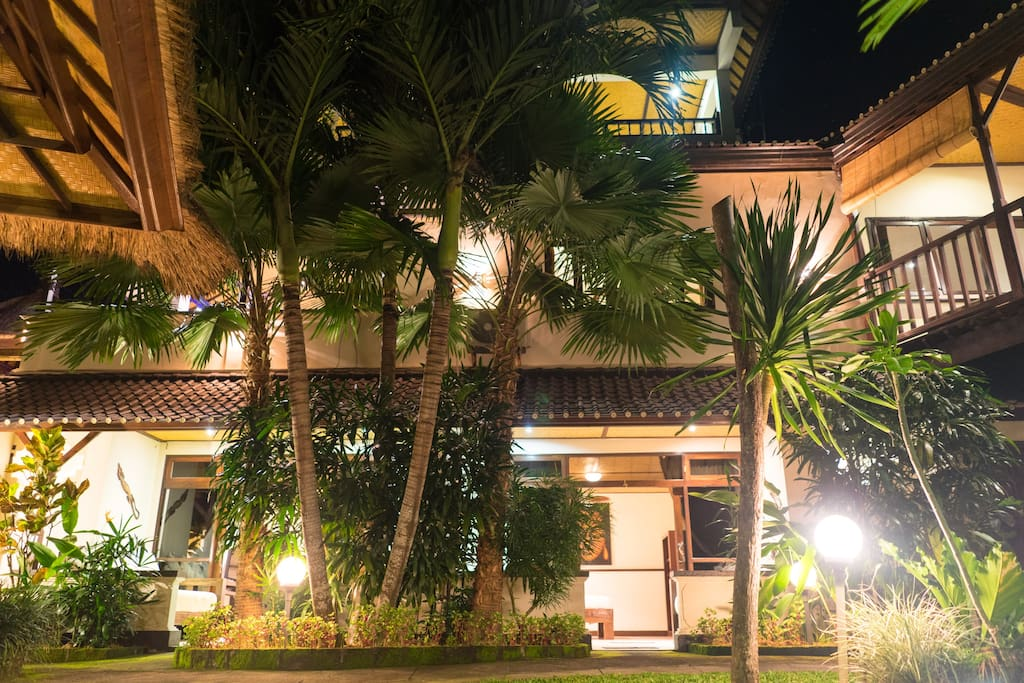 Night time in our tropical garden area where our three private garden bungalows are located.