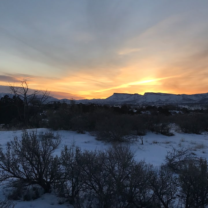 View of the sunrise in the winter