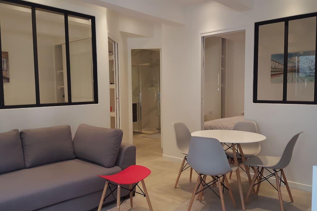 Living room Kitchen  Cuisine et salon