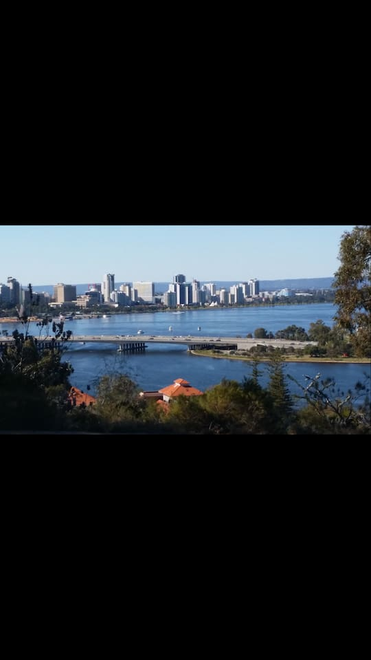 View from Kings Park, 8.2 kms away