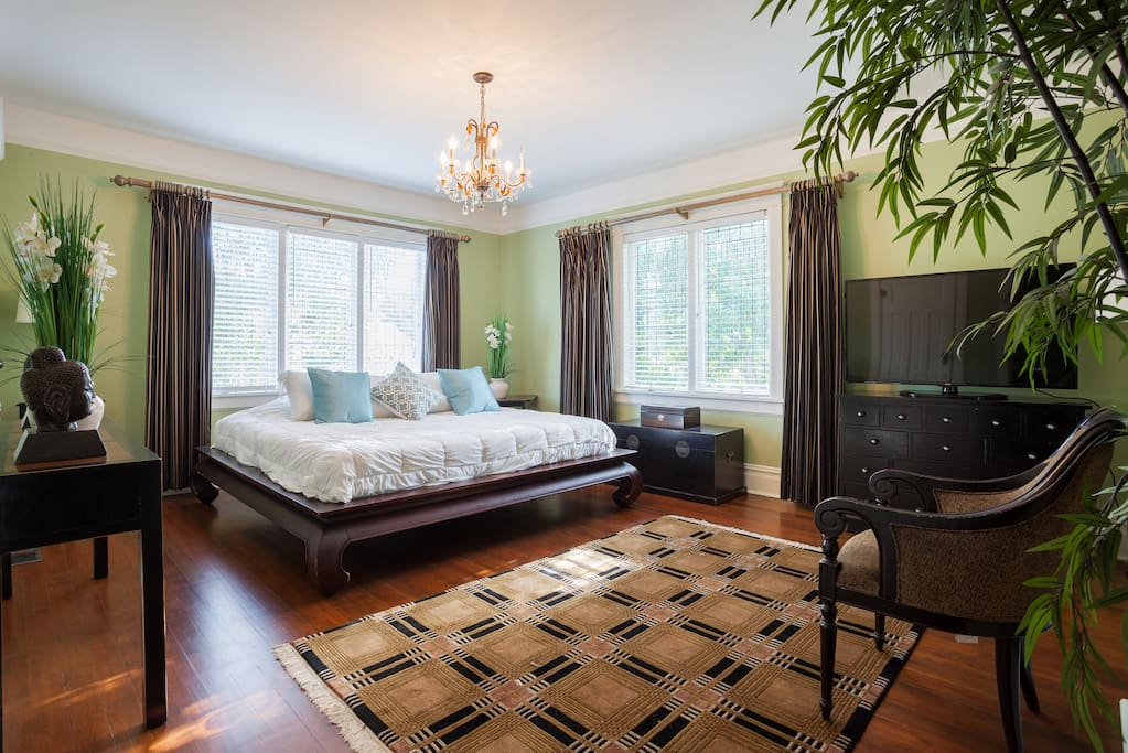 Ultra luxury bedroom,1000 thread count sheets,luxury pure memory  foam mattress, Chintz & Co bedding and furnishings ,leaded glass windows and his and hers closets.