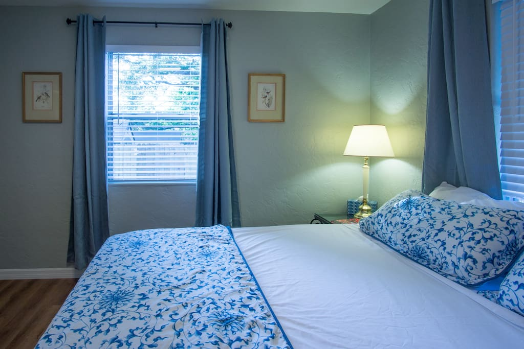 The king bedroom has a large hanging closet and a good-sized dresser