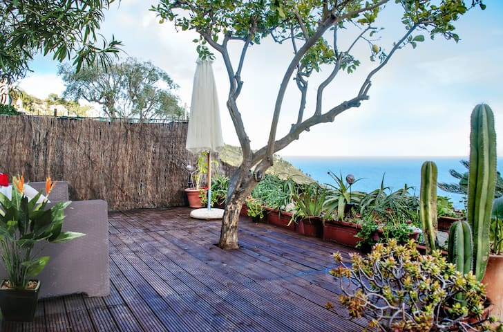 Private Wood Terrace with Fabulous sea views over the Riviera, sea and mountain