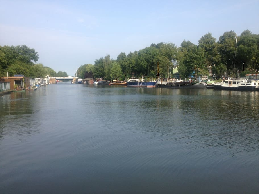 The boat is situated in the quiet part of the Merwede-canal.  Hardly any boats passing by. Happy swimming!