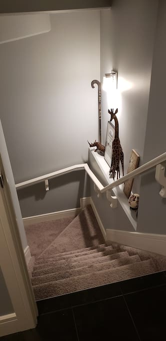 Once you come in the front entrance, just head down the stairs to our bright, spacious basement.