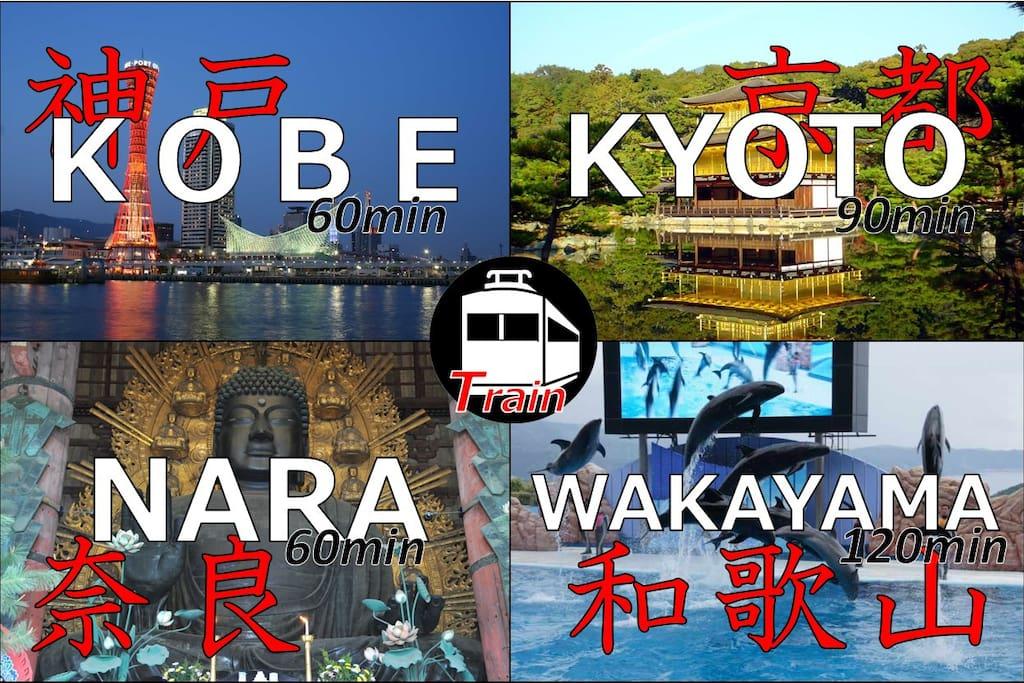 --1 min Supermarket^ ^ --1 min 24h convenience store --3 min Namba station^ ^ --5 min Dotonbori,Shinsaibashi --10 min Osaka Castle, Kuromon market --15 min USJ(^O^)