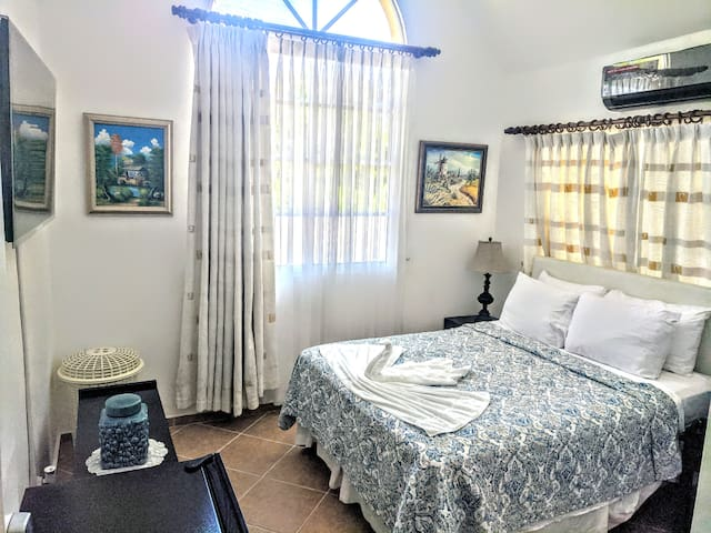 Bedroom features an in-suite bathroom,  Smart Samsung Flatscreen with Netflix, top of the line Air Conditioner.