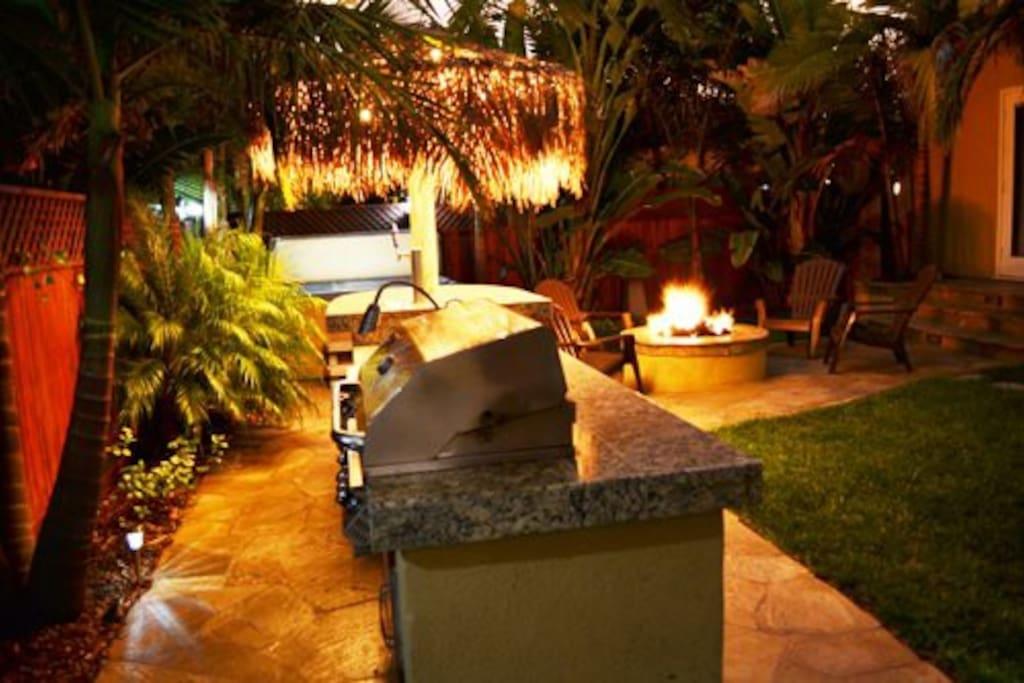 Backyard at night from BBQ