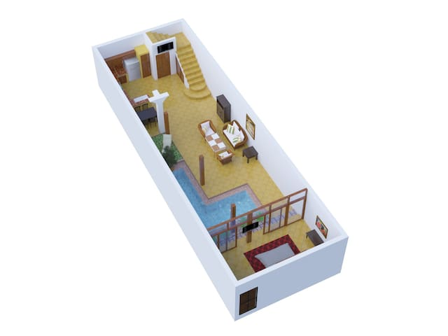 Downstairs floor plan. Enter from street into sala (can be used as air conditioned 2nd sitting area or second bedroom, depending on guest preference) on bottom right of diagram. Ground floor also has kitchen, bathroom, 2 TVs, 1 AC and 6 ceiling fans.