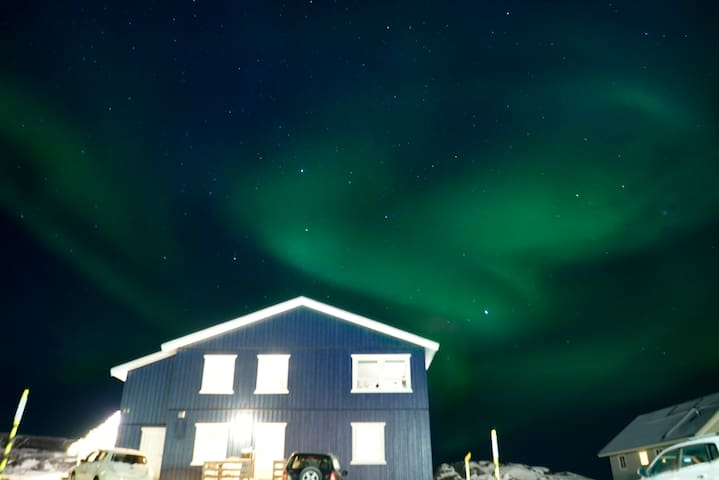Aurora right above our house. Photo by Rachel Weaver, who stayed with us December 2018