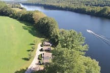 Birds eye view of the property looking North. This listing is the middle cottage (second from the top).
