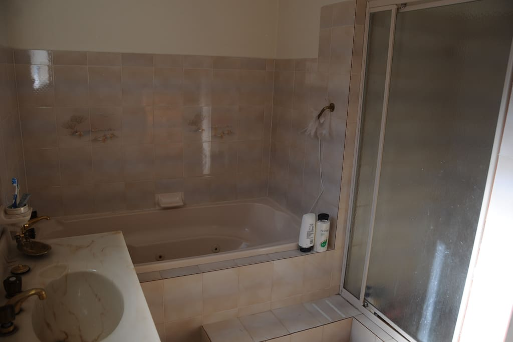 large bathroom with shower vanity and spa
