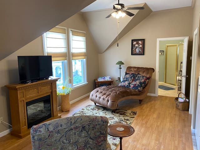 Bright and airy living room with chaise lounge, easy chair with ottoman, electric fireplace, games, full Spectrum Silver cable smart TV, operable windows, ceiling fan with light. Laminate wood plank flooring. Central heat pump with air conditioning.