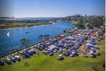 Ford Park from above during the monthly Yamba Rover markets. Just a few hundred ,meters from the house.