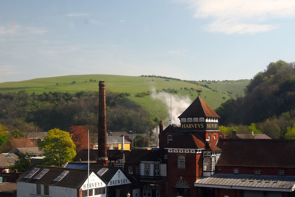 View of local brewery Harvey's and South Downs from upstairs landing
