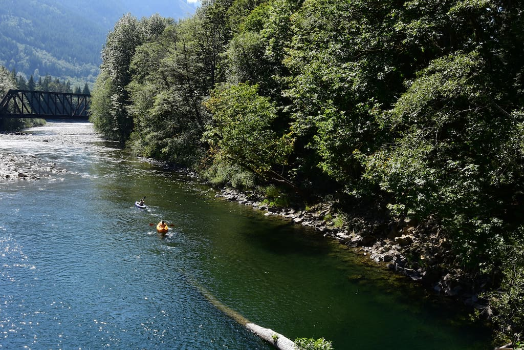 Floating down the Skykomish River at Money Creek Bridge.  August 2016