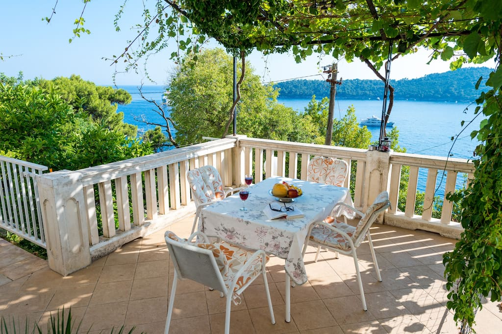 Lovely terrace in shade with a gorgeous view