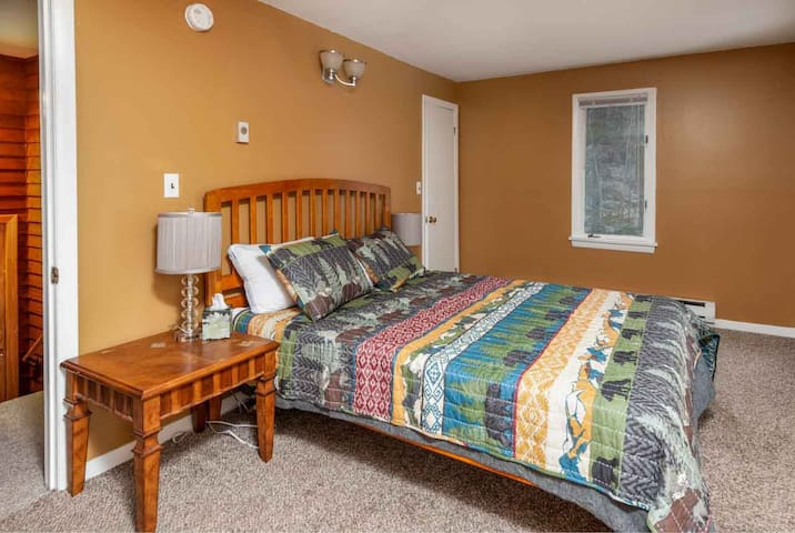 Master bedroom with 1 queen sized bed. Very spacious, two closets, shelves, and room for an air mattress.