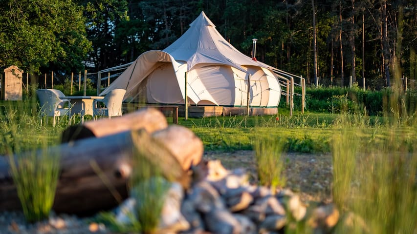 6m Luxury Lotus Belle Tent at Moat Island Glamping