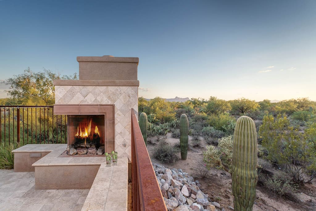 Outdoor fireplace and great views