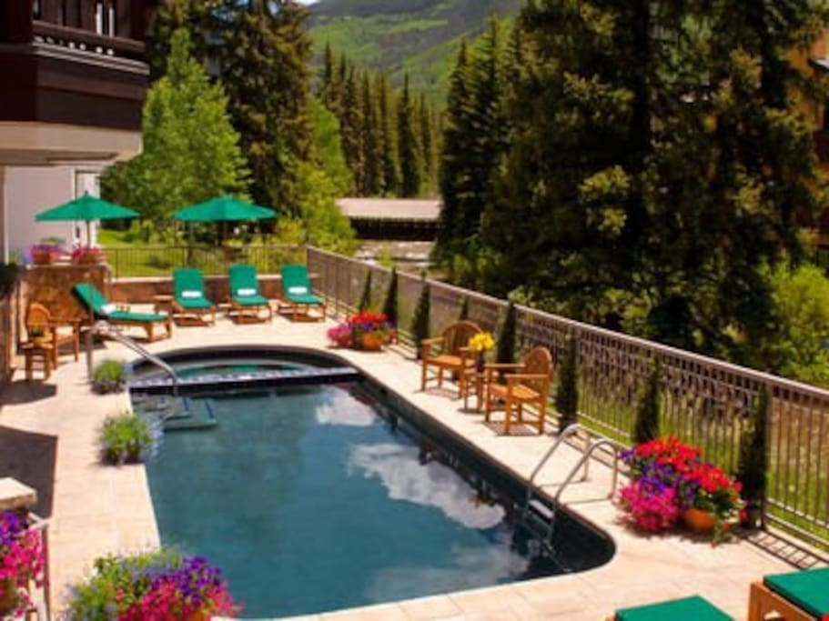 Take a dip in the outdoor pool.