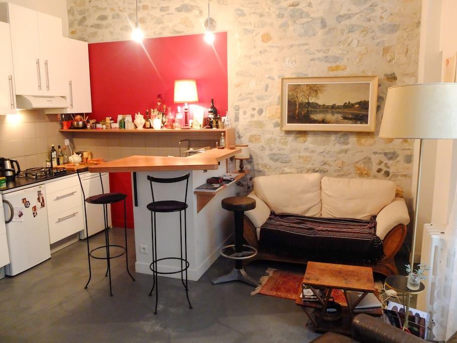 Salon cuisine avec bar