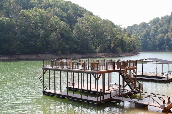 Norris Lakefront; 2 story dock w/ slide