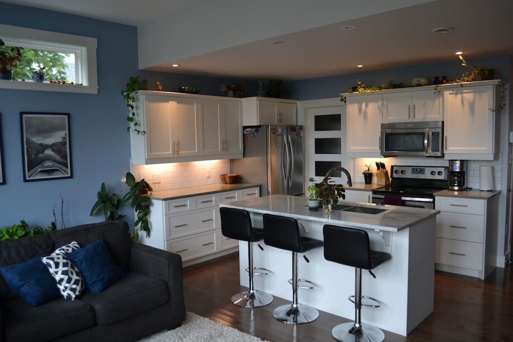 Full, modern kitchen with brand new appliances, island and pantry