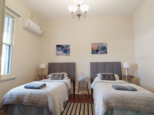 2 single beds made comfortable for you.