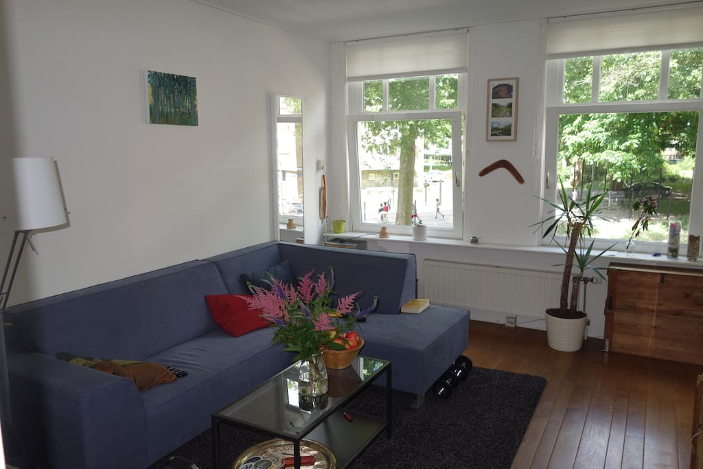 Bright living room, facing the (quiet) street and a small green area