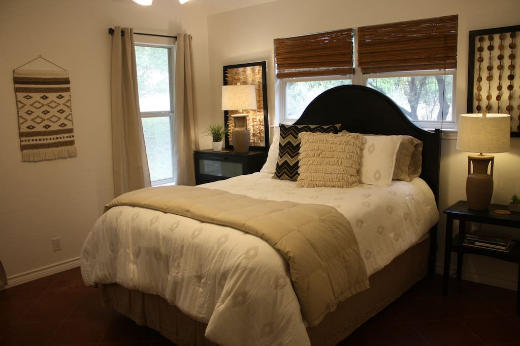 Master bedroom has a queen size bed, futon that sleeps one and a luggage rack in closet.  Wake up to deer grazing outside your window.