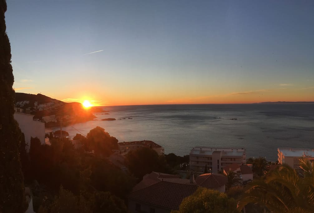 lever de soleil vu depuis la terrasse