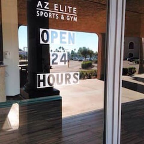 3 minutes away from Az Elite Sports and Gym. For unlimited 24/7 access to the pool, gym, and batting  cage, monthly fee is $20 per adult, $10 per kid 12-18 years old, and $5 per kid under 12 years old. Designed to be seamless, flexible and hassle free, there is no sign up fees, yearly fees, administration fees or cancellation fees. The Membership is strictly a Month to Month payment and is easily adjusted to fit the needs of you and your family. Membership includes unlimited fitness center access including group fitness classes, swimming pool and towel service. There is also a wide array of add on options including gymnastics and tumbling, tanning and spa services, massage and chiropractic, batting cages, indoor driving range and both group and private swim lessons for adults and children.  Visit http://azelitesports.com/