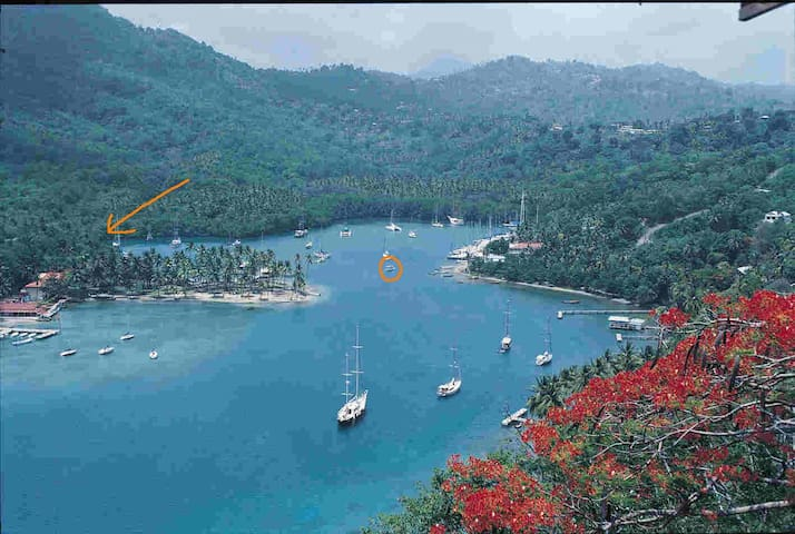 Marigot Bay - follow the arrow for Mango Beach which is just behind the palm trees