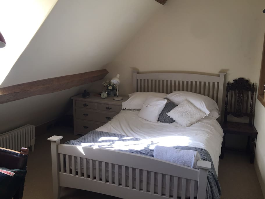 Comfy double bed on the top floor with desk and own sitting room and bathroom