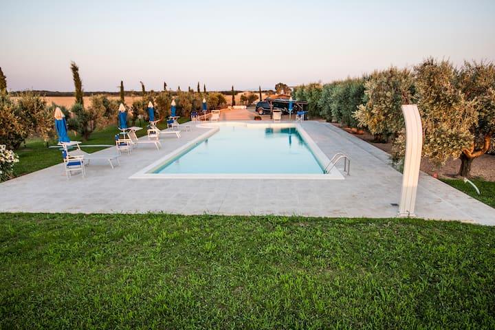 The large private pool reserved for the guests only - L'ampia piscina privata riservata solo per gli ospiti