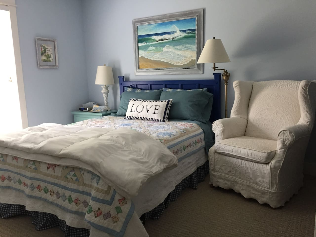 A comfortable queen-sized bed is a must for you, our out-of-town travelers in a quiet end of the home.