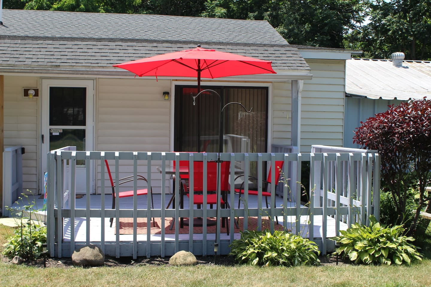 Private deck and entrance