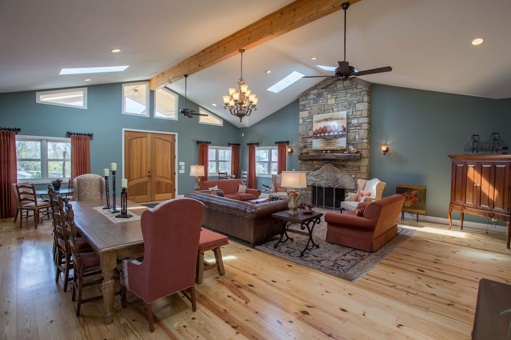 Great room, seating for 17 with gas burning fireplace