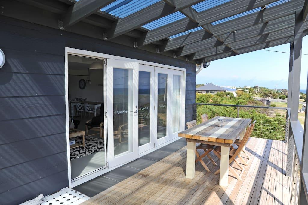 Huge outdoor deck with sweeping sea views