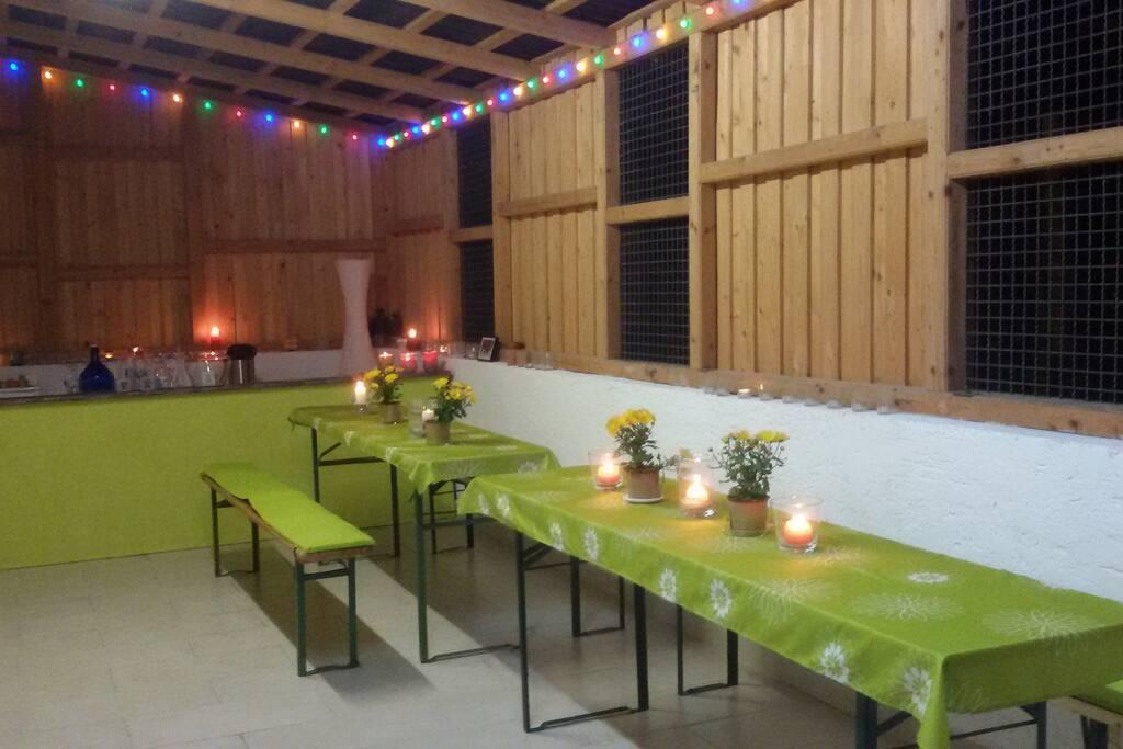 Remise - schöner großer Raum für Party, Feste, Seminare, Workshops usw.
