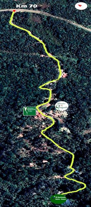 Como llegar al santuario desde el km70 de la Panamericana Sur, ruta 2, Costa Rica