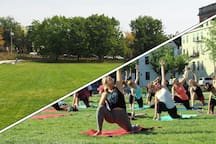 Your place is right on Ziegler Park -- a beautiful park that often has free yoga, kickball, and other activities.