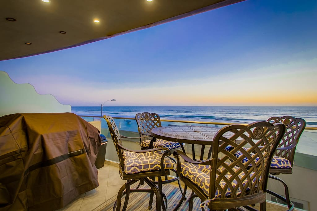 ocean views, patio with BBQ and table/chairs