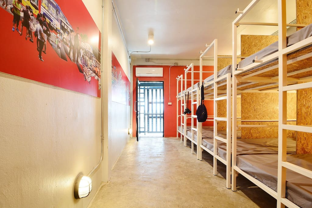 Mixed dorm 8 with an air conditioner, free Wifi, good natural light & ventilation, soft bed lined plus pillow and blanket