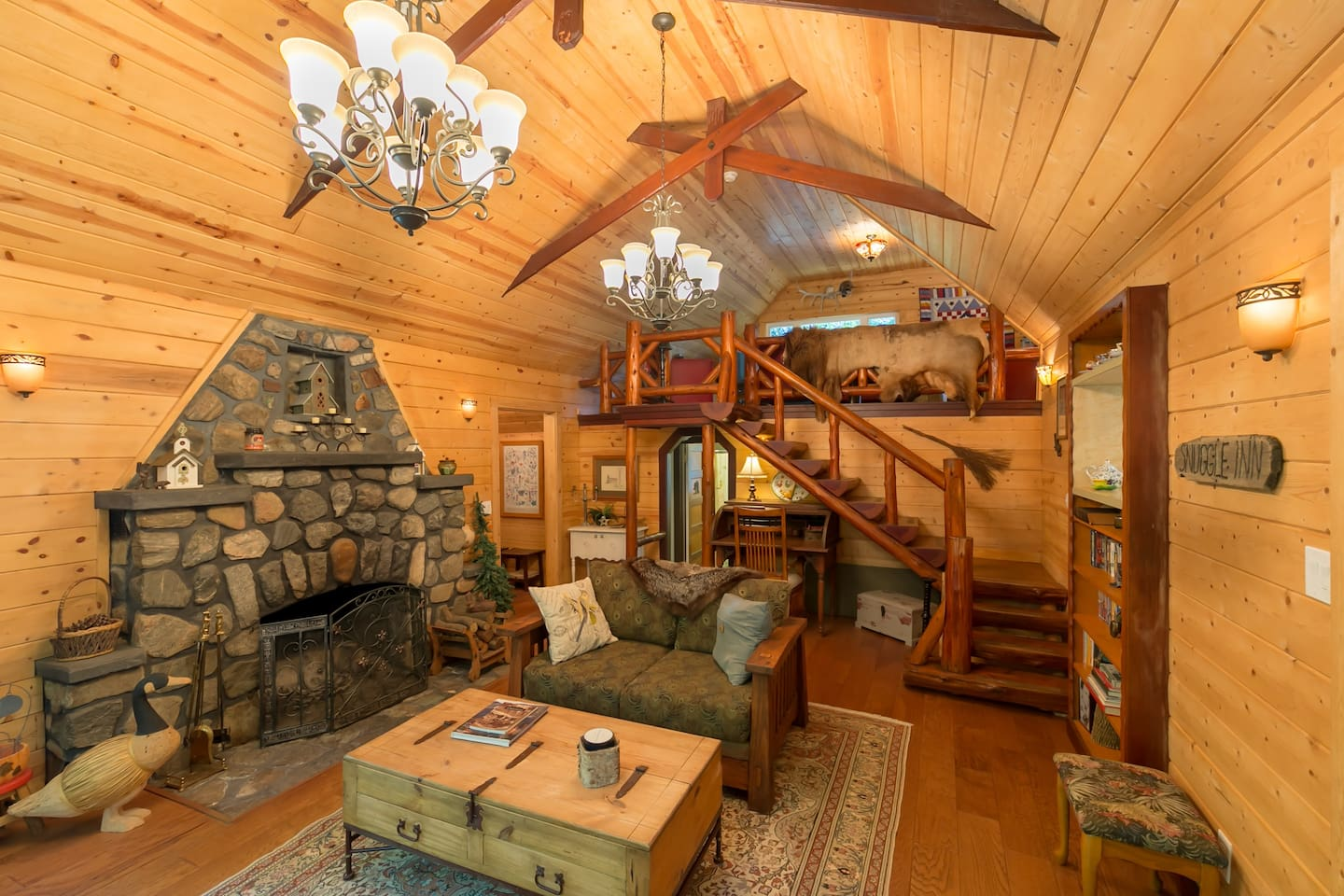True log cabin rustic charm with huge rock fireplace!