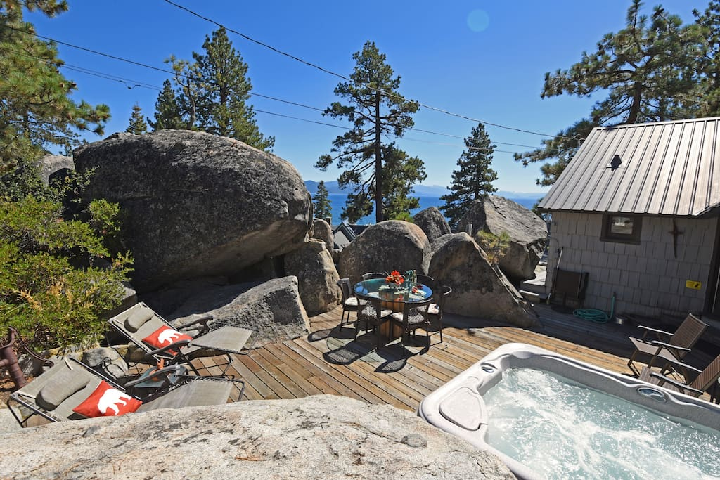 "This hot tub and deck are at the top of ""The Rockpile"""